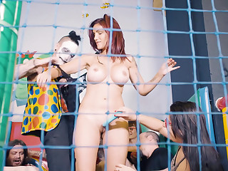 Slavegirl humiliated in be passed on ball pit