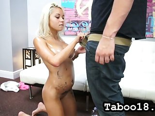 All lubed naked blonde whore Marsha May teases dude with lap dance and blowjob