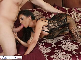 Dressed in lacy black lingerie sexpot Trinity St Clair is ready for good doggy