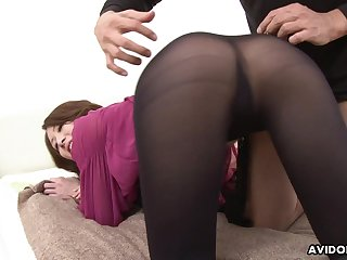 Slutty Jap cowgirl Riko Miyase is into riding one cock while sucking more