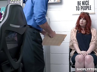 Curvaceous ginger milf Amber Dawn gets punished for shoplifting