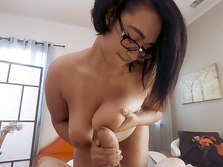 Homemade POV video of chubby Emori Pleezer getting cum on tits