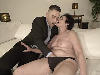 Horny granny is already wet enough for that young man