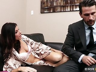 Office fucking on the sofa ends with facial for India Summer