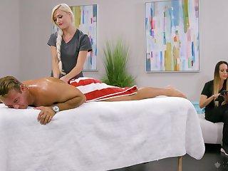 Fabulous blonde masseuse Morgan Rain has noticed hard boner and rides client