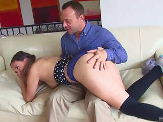 Daddy fucks younger step daughter and cums on her face