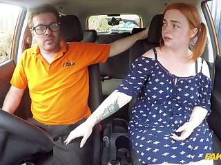 Redhead BBW Harley Morgan fucks in the car