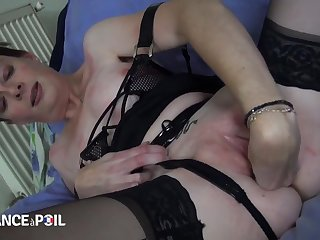 Older French slut fucks young black pervert
