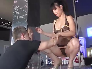 Beautiful pillar dancer is occasionally draining for her customers and having fuck-a-thon with them, for glee
