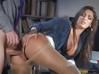 Milf gets laid winning office with the new guy
