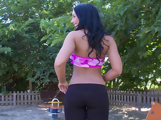 Budapest brunette shows her perky ass