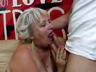 Old granny gets her hairy pussy drilled by young boy