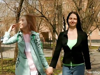 Russian lesbians enjoy toying each others pussies on the first date