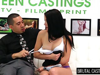 Dark haired submissive gal Alaina Kristar is tied up and brutally fucked