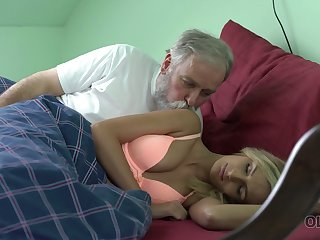 Tanned fresh owner of natural tits Jenny Smart works on stiff strong old cock