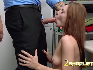Super horny skinny shoplifter gets got laid