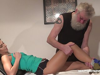 Old fart has the honor to lick and fucks beautiful pussy of young brunette