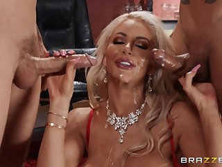 Blonde Nicolette Shea loves to feel pleasure by two cocks at the same time