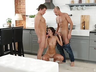 Young amateur deals both her step brother and his friend