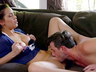Some quick sideways fuck on the sofa is perfect for lovely Alina Lopez