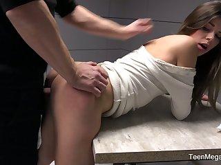 Prisoner fucks pretty girlfriend Sarah Smith in the visiting room