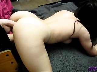 my hot stepsister enjoys her dildo deep inside her