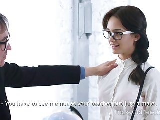 Older tutor is ready to fuck the shit out of naughty Russian coed gal