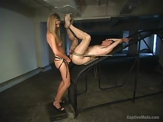 Skinny dominant blonde ass fucks her slave like a whore