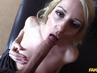 Blonde slut Jasmine Lau loves to suck and fuck with large dicks