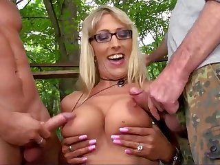 Hot MILFs shakes big tits while making love with young boys