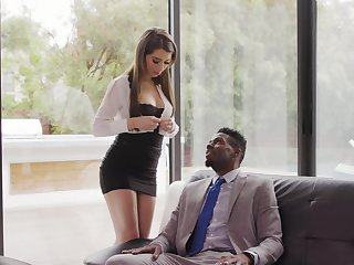 Beautiful white secretary Joseline Kelly gets her anus holed by black boss