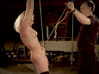 Teen tied up and hardcore fucked in the bondage dungeon