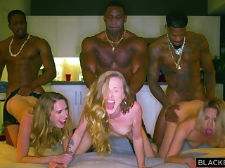 Three Blond Hair Girls And Three Black Guys In Interracial Group