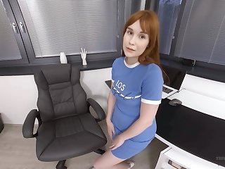 Alone busty office nympho Sweet Angelina gets bored and fingers pussy at work