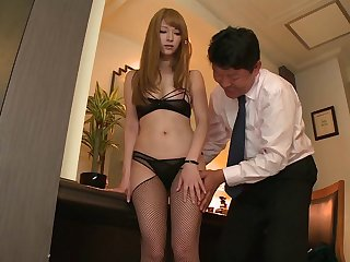 Shy Japanese wife Tia Bejean in stockings filmed for a first time