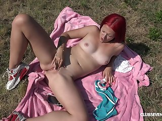Erotic scenes of sexual masturbation with a shy amateur on fire