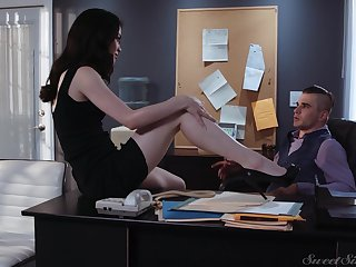 Sexy tall and quite leggy secretary Evelyn Claire is ready for office sex