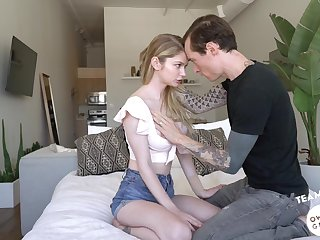 Tattooed guy Owen Gray bangs pretty hot teen with yummy ass Bunny Colby