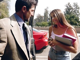 Filthy student babe in shorts Gia Derza seduces old math teacher