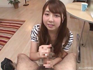 JAV POV blowjob with adorable Asian darling Arihana Moe