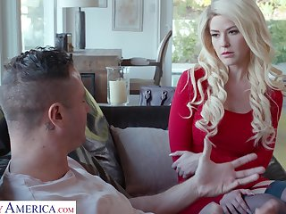 Blond babe in red dress and stockings Kit Mercer is fucked by Danny Mountain