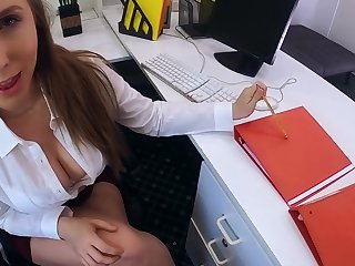 Busty colleague Lena Paul swallows cum after hardcore pussy pounding in the office