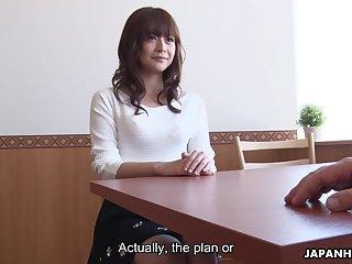 Shameless Japanese office chick Asuka Kyono enjoys fingering her wet pussy