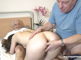 Sweet nurse pleases these old guys with one last fuck