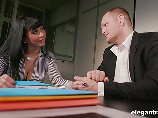 Young brunette Valentina Ricci allows her new boss to penetrate anal hole